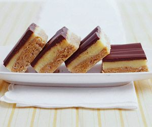 The combination of peanut butter and chocolate makes this no-bake bar cookie recipe popular with kids and adults. Line the baking pan with foil for easy serving.