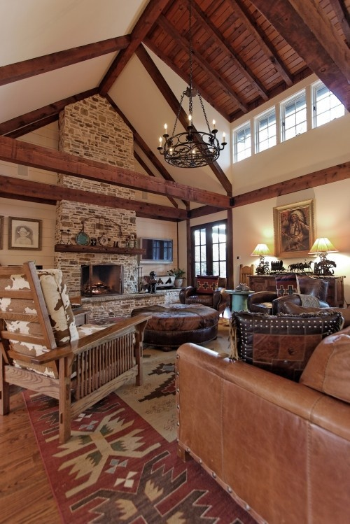 love most everything about this room plus the fireplace up to the cathedral ceiling mirrors my western living roomsrustic - Western Interior Design Ideas