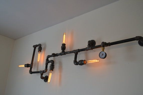 Industrial steampunk pipe wall light industrial ceiling for Pipe ceiling lighting
