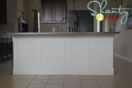 DIY Board and Batten kitchen island treatment - thinking of using board & batten on the empty wall in the kitchen...