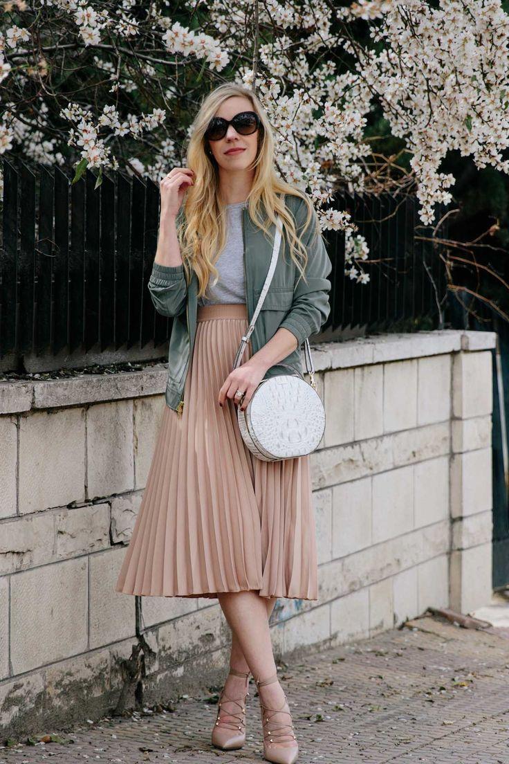 Olive & Blush Spring Pairing: Bomber Jacket & Pleated Midi Skirt with Valentino lace-up heels and @brahmin Lane circle handbag