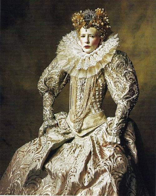 Kate Blanchett, attired as Queen Elizabeth I. in the film, 'Elizabeth'.