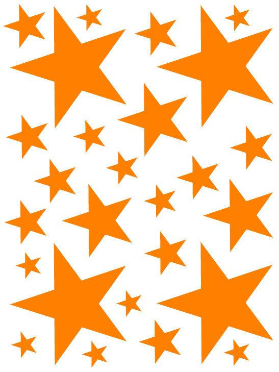 52 Bright Orange Vinyl Star Shaped Bedroom Wall Decals Stickers Teen Kids Baby Nursery Dorm Room Removable Custom Made Easy to Install by StuckOnYourWalls on Etsy