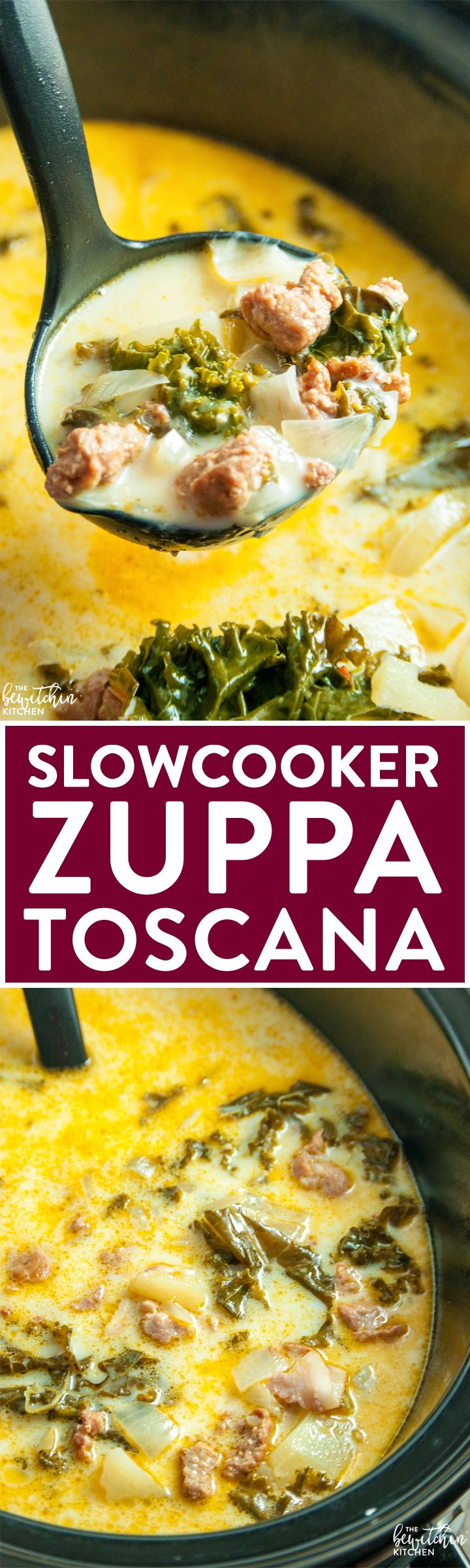 Slow Cooker Zuppa Toscana - a simple soup recipe that's based off an Olive Garden favorite. | thebewitchinkitchen.com
