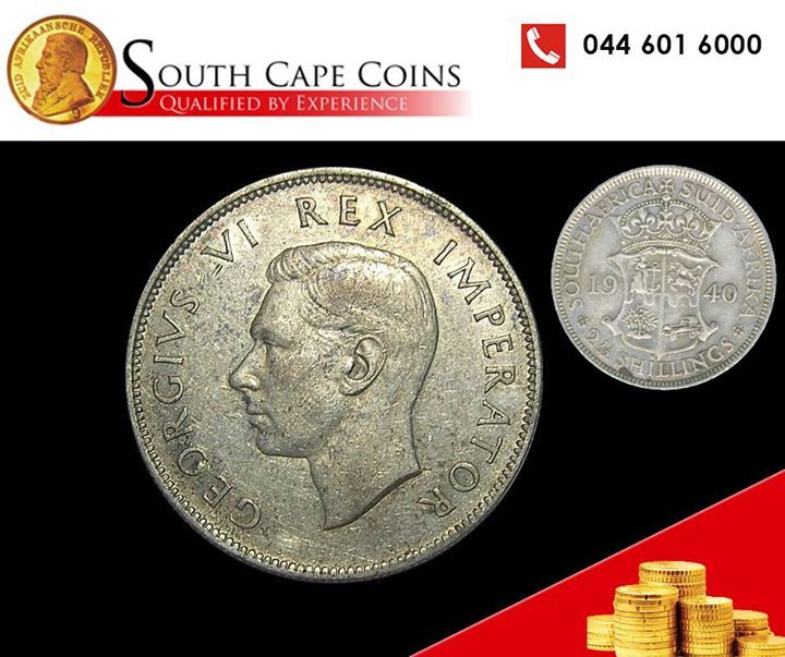 This particular 2 ½ Shilling (Half Crown) was minted in 1940 and appeared with the head of King George VI. South Cape Coins are dealers in all collectable South African coins and will gladly evaluate and buy your portfolio. Contact us for more details at 044 601 6000.