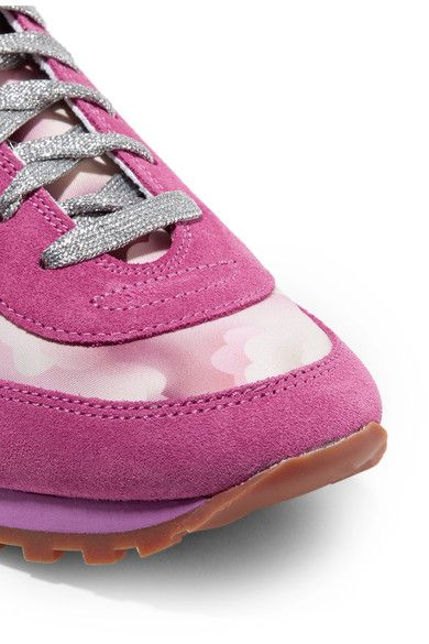 Marc Jacobs - Astor Embellished Printed Canvas, Leather And Suede Sneakers - Fuchsia - IT