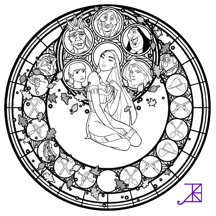 Pocahontas Stained Glass -line art- by Akili-Amethyst on deviantART