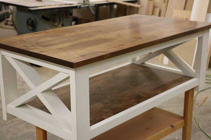 Coffee table farmhouse style made by my daughter
