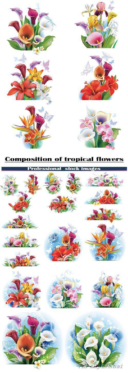 Композиции из тропических цветов