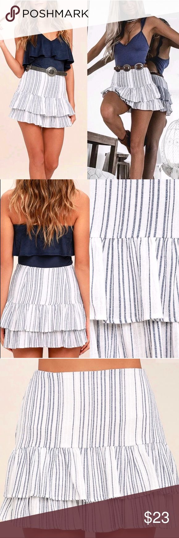 🆕 Hampton's Blue and White Striped Skirt This Blue and White Striped Mini Skirt is the quintessential beach day ensemble! Gauzy woven blue and white striped fabric hugs you at the hips, then flares into a flirty, ruffled trumpet skirt. Hidden side zipper/clasp. Belt not included. As Seen On Kirsty of @kirstyfleming! Fully lined. Self: 100% Cotton. Lining: 100% Polyester. Hand Wash Cold. Made with Love in the U.S.A. Lulu's Skirts Mini