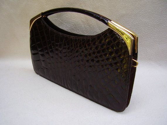 VINTAGE ALLIGATOR CLUTCH 1960's/70s. Comes with a brass chain and so Stylish and Elegant.