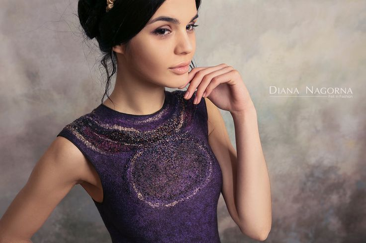 nuno-felted dress with embroidery by Diana Nagorna