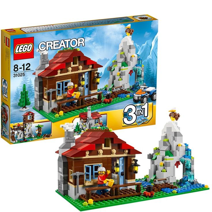 LEGO® CREATOR® 3-in-1 Mountain Hut 550 Piece Kids Building Playset | 31025. Includes an explorer minifigure. 3-in-1 model: rebuilds into a mountaintop lookout or a small lodge. Features hinged access, a fireplace, table, chairs and various rustic furniture items. Exterior details includes a mountain with cave, waterfall, brick-built eagle, hidden treasure, small stream, log bridge, tree, stove and a quad bike. Pull up a chair and relax by the fireplace.