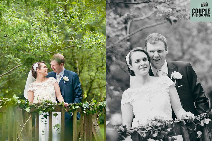 On the beautiful floral bridge over the stream at Brooklodge. Wedding photography at The Brooklodge Hotel by Couple Photography.