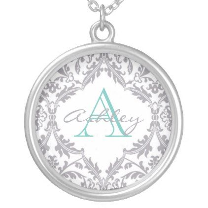 Elegant Gray and White Damask with Teal Monogram Silver Plated Necklace - elegant gifts gift ideas custom presents