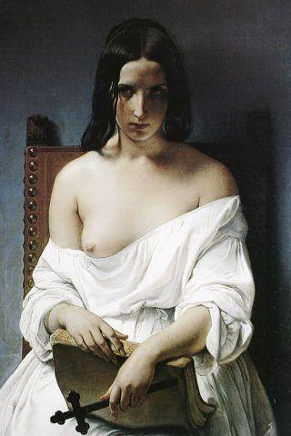 Francesco Hayez; La meditazione; 1851; olio su tela; Civica galleria d'arte moderna, Verona.