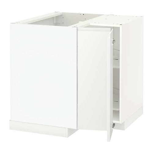 METOD Corner Base Cabinet With Carousel   White, Voxtorp Left Hand White    IKEA