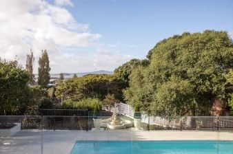 Along with many other rooms in the home, the outdoor area faces both mature trees and the harbour