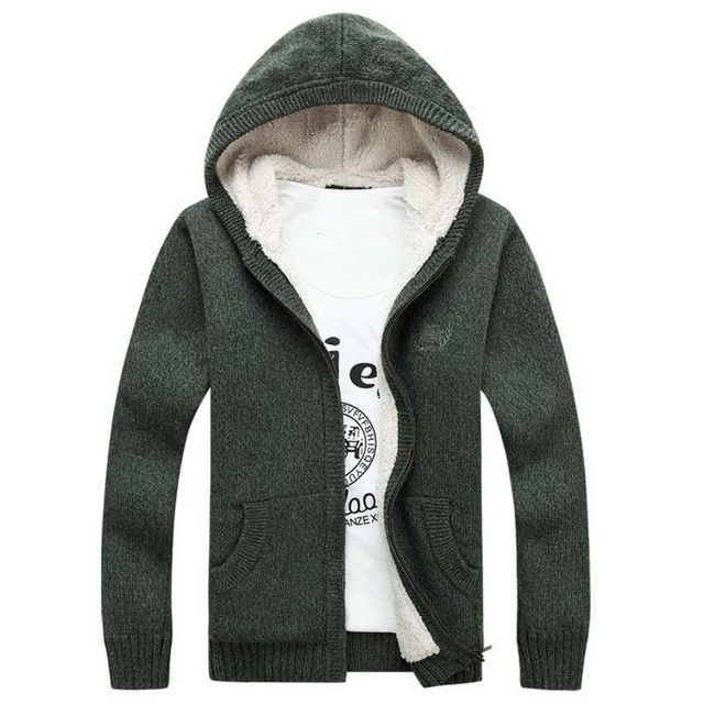 Brand Winter Warn Mens Fleece Sweater Cardigans Thick Oversized ...