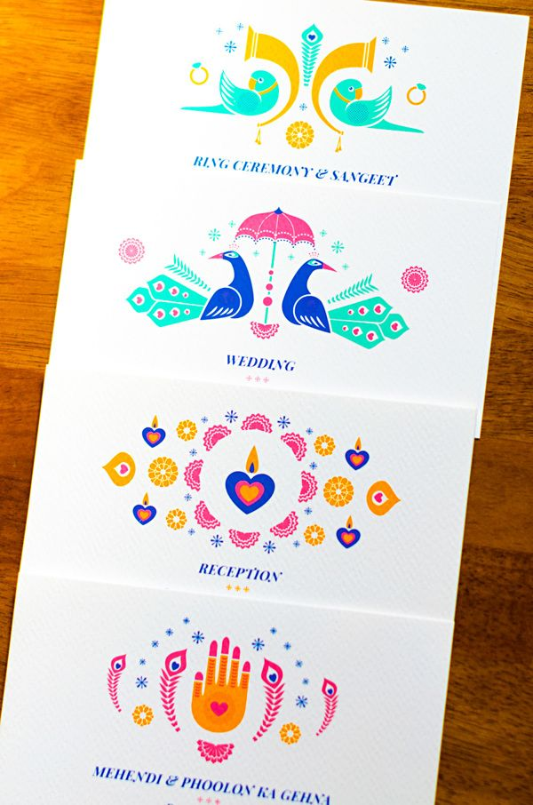 A colourful and vibrant card that still keeps it elegant. Bearing motifs of a mehendi covered hand, peacocks, parrots, tutaris and diyas, this invitation is strictly for a couple who loves to have fun. What's more, the envelope keeps it up too, in bright pink paper and a mango yellow stamp design!