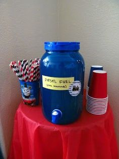 Thomas the Train party ideas - I just liked it because it said Diesel Fuel. :)