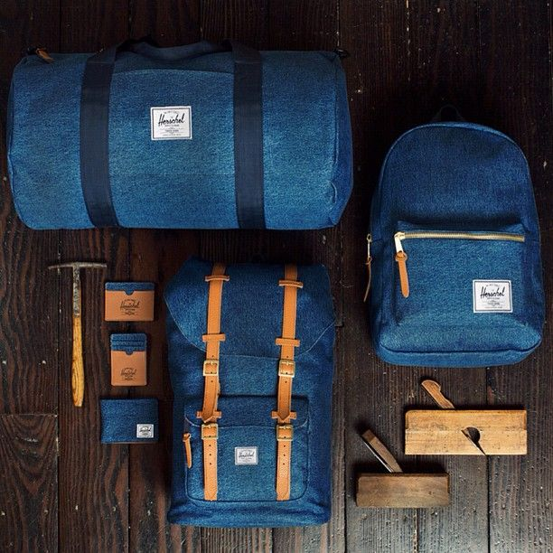 denim / herschel - I saw some of these in New Orleans at an upscale men's clothing store. So awesome!