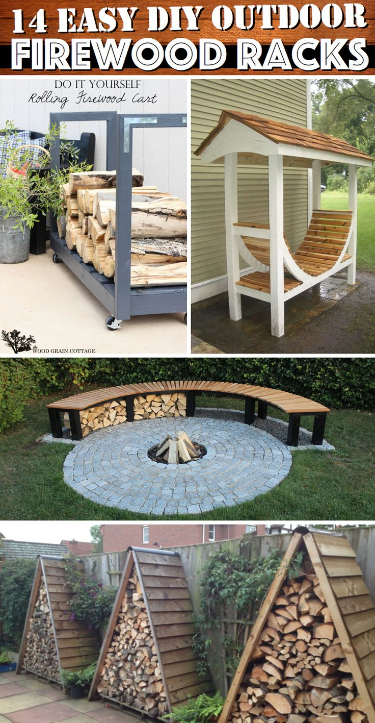 14 Easy DIY Outdoor Firewood Racks to Keep Those Logs Perfectly Safe #diy #outdoor #firewood #rack