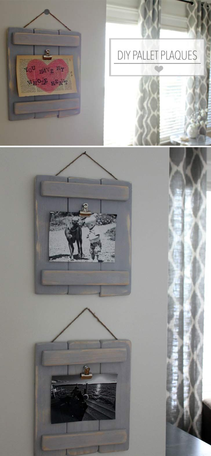 DIY Pallet Plaques. Click on image to see more home decor DIY ideas and designs.