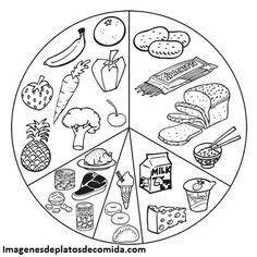 Resultado de imagen para el plato del buen comer para niños de preescolar para colorear