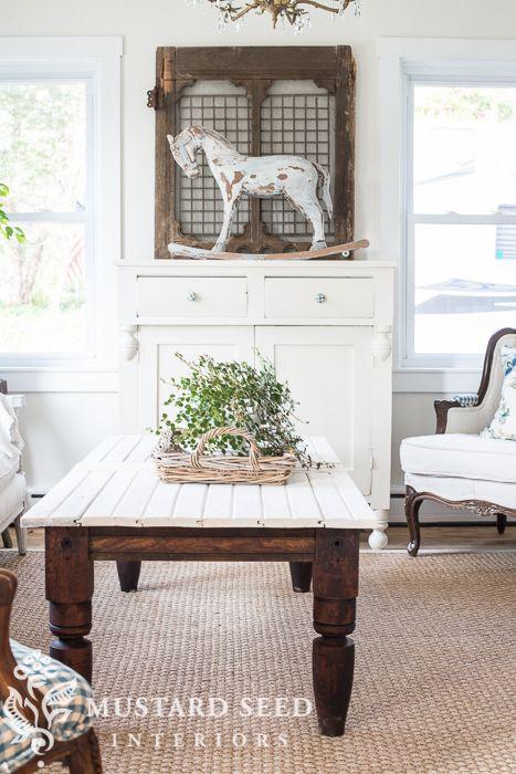 Old Rope Bed Bead Board Door Coffee Table