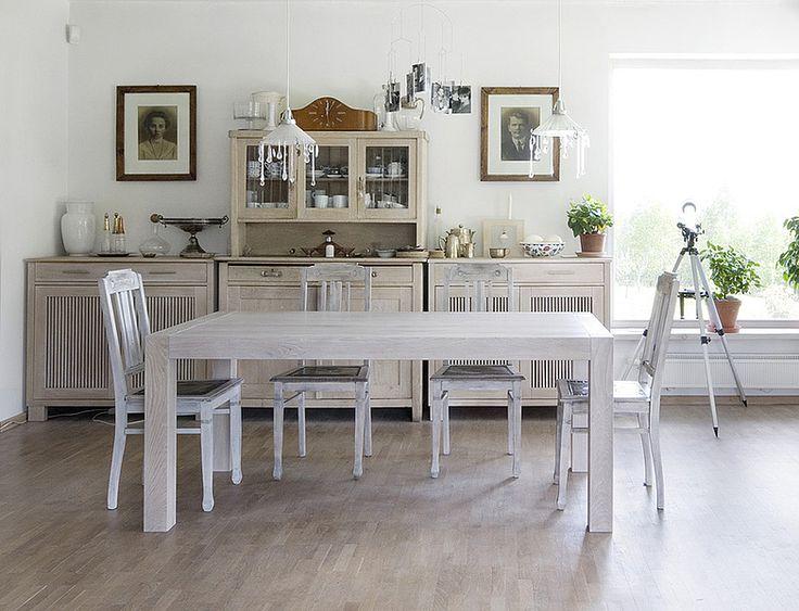 BLOX folding table. Size: 160+1x50/90/76. Colour: Off White. - www.miloni.pl/en MILONI: wooden table, oak table, natural wood table, table design, furniture design, modern table
