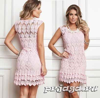 Gancho vestido de verano color de rosa