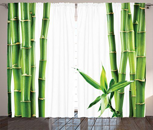 Ambesonne Asian Decor Collection, Branches of Bamboo Board Stalk Tropics Plants Greenery Feng Shui Natural Lush Image, Living Room Bedroom Curtain 2 Panels Set, 108 X 90 Inches, Green White *** Find out more about the great product at the image link.