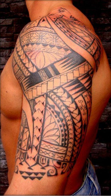 shoulder tattoos | ... manao-tiki-tattoo-toulon-tatouage-bras-epaule-arm-shoulder-tattoo.jpg