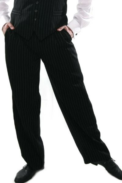 Men's Black Tango Pants With Stripes   conSignore Tango Clothes for Men   #tangopants #menstangopants #menstangoclothes #argentinetango