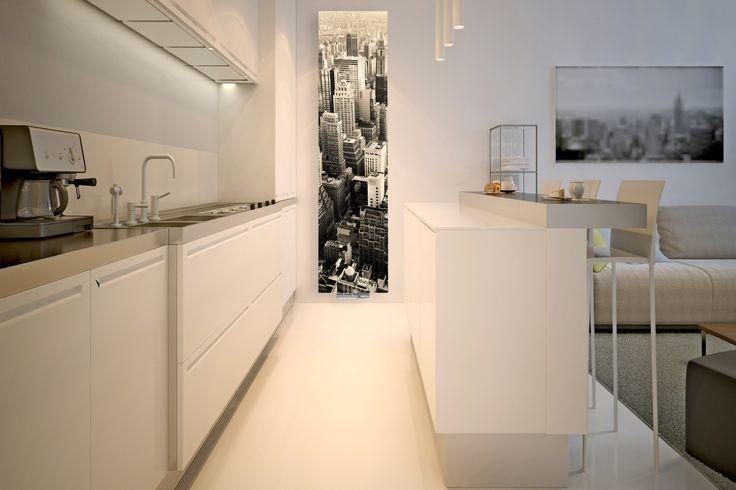 """Otwarty aneks kuchenny ze szklanym grzejnikiem Nova Glass z nadrukiem """"city"""" od Radox Radiators"""