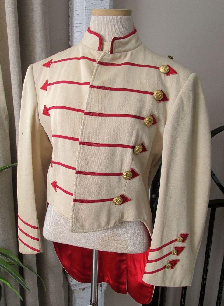 Vintage Buttercream Wool & Red Arrow Trimmed Swallowtail Band Uniform Jacket | eBay