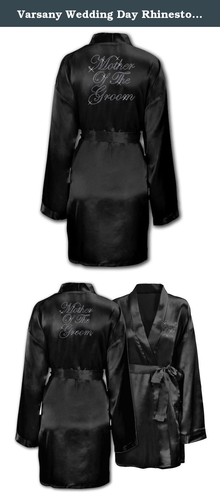 Varsany Wedding Day Rhinestone Satin Black Mother Of The Groom Personalised Honeymoon dressing gown robe. All bathrobes have been customized with our high quality machine cut rhinestones to ensure you sparkle amongst all your family and friends. Treat yourself to our super soft cotton bathrobes and make your bridal shower memberable.