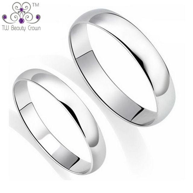<b>100</b>% <b>Real 925</b> Pure Silver Classic Simple Plain Design Lovers ...
