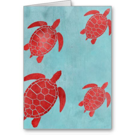 Red and Blue Green Sea Turtle Greeting Card