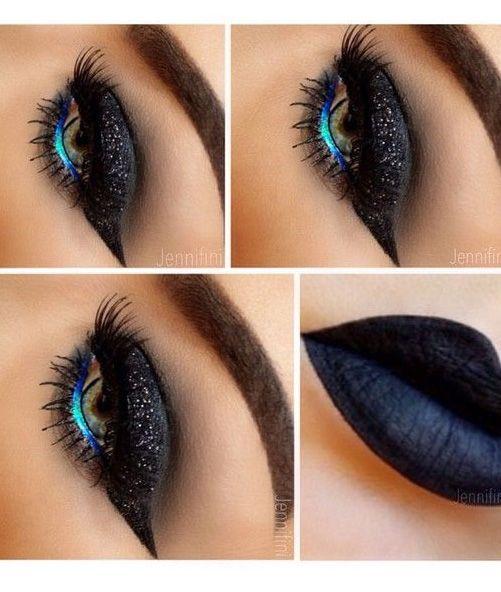 Glittery Black Eye Makeup With Teal Eye Liner
