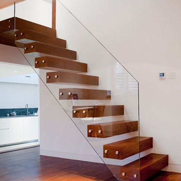 Floating Stair Solid Wood Treads Floating Stair Glass Balustrades and Wood Treads Floating Staircase PR-F04