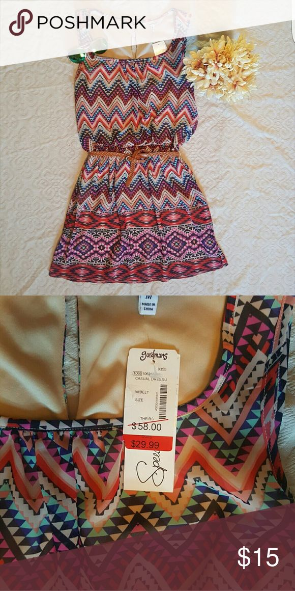 ♡NWT♡Junior's Summer Dress Brand new dress with the CUTEST pattern!!!! Comes with an attached braided belt! Dresses Midi