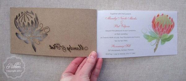 Laser cut Protea invitation from Ribbon Wedding Stationery, Johannesburg. http://www.ribbonweddings.com