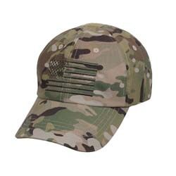 Tactical Operator Cap With US Flag - Camo
