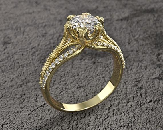 Solid 14k Gold White Sapphire And Diamonds Ring For Women Unique
