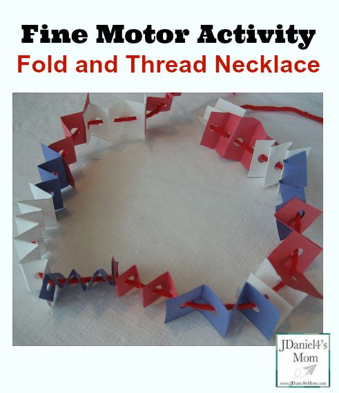 Fine Motor Activity Fold  and Thread Necklace- Works on cutting, folding, hole punching, and threading skills.