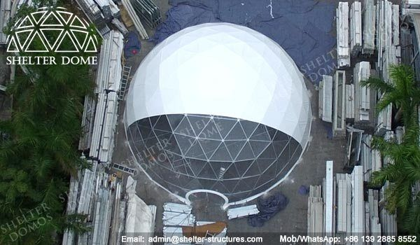 Steel frame dome house - Custom geodesic domes for events - Half clear geodesic dome tents - PVC geodesic dome structures with transparent front - Fabric domes for corporate events - Shelter Dome (1)