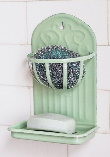 Vintage Inspired + Repo..beach cottage..shabby..Charmed with Chores Soap Dish - Vintage Inspired, Good, Mint, Solid, Pastel