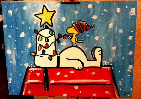 Snoopy Christmas Art  18x24  Canvas & Acrylic by PaintingsbyChelsi